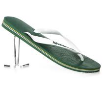 Herren Schuhe Zehensandalen, Gummi, weiß-grün