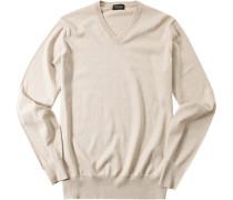 Herren Pullover Baumwoll-Seide-Kaschmir-Mix beige