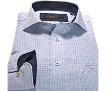 Herren Hemd Comfort Fit Gewebe-Mix blau gemustert