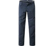 Herren Hose Chino Modern Fit Baumwoll-Stretch marineblau-schwarz kariert