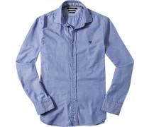 Herren Hemd, Shaped Fit, Oxford, blau-weiß meliert