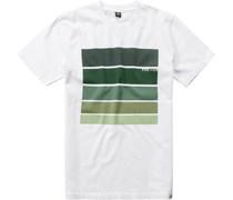 Herren T-Shirt Baumwolle weiß-grün gemustert