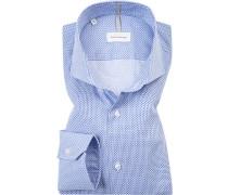 Herren Hemd, Shaped Fit, Popeline, blau gemustert