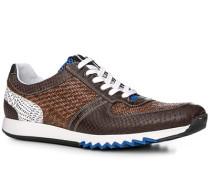 Herren Schuhe Sneaker Leder mittelbraun-dunkelbraun braun,blau