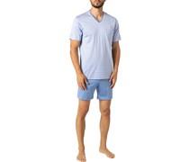 Schlafanzug Pyjama, Baumwoll-Jersey Fil à Fil