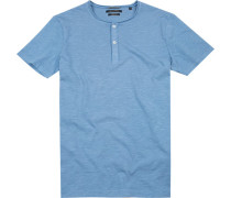 Herren T-Shirt Shaped Fit Bio-Baumwolle hellblau meliert