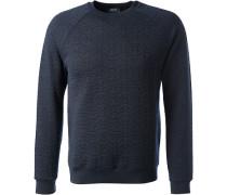 Herren Sweatshirt, Baumwolle, navy gemustert blau