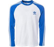 Herren T-Shirt Longsleeve, Baumwoll-Piqué, königsblau-weiß