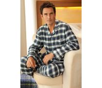 Herren Schlafanzug Pyjama Baumwolle blau-weiss blau,weiß