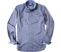 Herren Hemd Slim Fit Pinpoint blau meliert