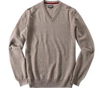 Herren Pullover, Kaschmir-Wolle, greige meliert rot