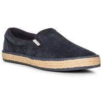 Herren Schuhe Slip Ons, Veloursleder, navy blau