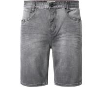 Herren Jeansshorts Slim Fit Baumwoll-Stretch grau