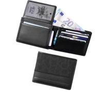 Herren   Karten-Scheinetui Leder-Textil schwarz