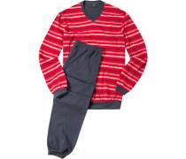 Herren Schlafanzug Pyjama Baumwolle rot-navy gestreift blau,rot
