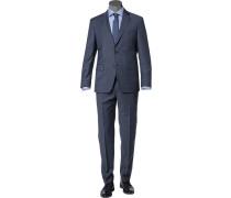Herren Anzug, Regular Fit, Schurwolle, bleu meliert blau