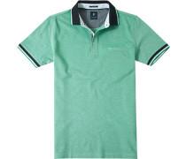 Herren Polo-Shirt Baumwoll-Piqué grün-weiß meliert