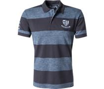 Herren Polo-Shirt Baumwoll-Piqué blaugrau gestreift