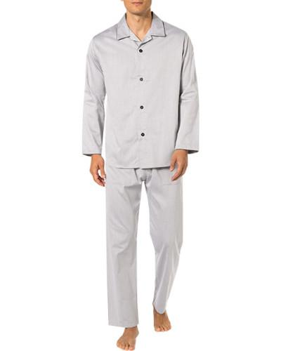 Schlafanzug Pyjama, Baumwolle, silber
