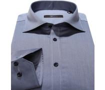 Herren Hemd, Slim Fit, Twill, graublau