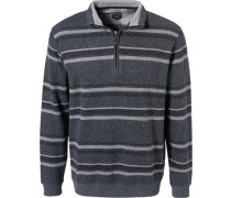 Pullover Troyer, Baumwolle, rauch gestreift