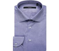 Herren Hemd, Shaped Fit, Oxford, blau meliert