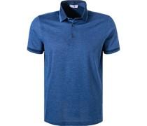 Polo-Shirt Baumwoll-Piqué indigo meliert