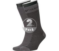 Herren  Socken Baumwoll-Stretch grau-schwarz gestreift