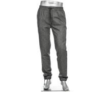 Herren Hose Jogpants Baggy Regular Slim Fit Wolle-Seide grau meliert