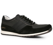 Herren Schuhe Sneaker, Velours-Glattleder, schwarz