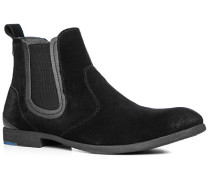 Herren Schuhe Chelsea Boots Veloursleder schwarz