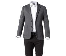 Herren Jersey-Sakko Regular Fit Baumwolle halbgefüttert grau meliert