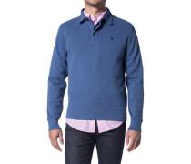 Herren Polo-Shirt Baumwolle Jeansblau meliert