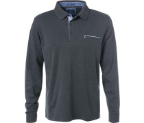 Herren Polo-Shirt, Baumwolle, anthrazit meliert grau
