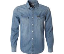 Herren Hemd, Slim Fit, Jeans, denim blau