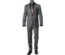 Herren Anzug, Regular Fit, Schurwolle, grau meliert