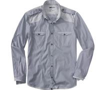 Herren Hemd Slim Fit Baumwolle blau-grau