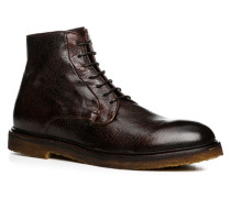 Herren Schuhe Stiefeletten Bisonleder testa di moro braun,rot
