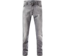 Herren Jeans, Straight Fit, Baumwolle, hellgrau