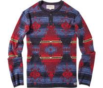 Herren Pullover Baumwolle blau-rot gemustert