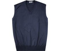 Herren Pullover Pullunder, Merinowolle, marine blau