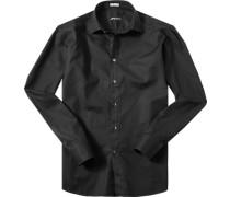 Herren Hemd Modern Fit Strukturgewebe schwarz