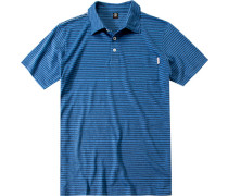 Herren Polo-Shirt Regular Fir Baumwoll-Leinen-Mix jeans-marine gestreift
