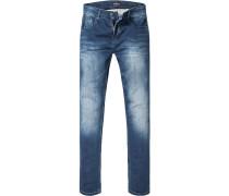Herren Jeans, Modern Fit, Baumwoll-Stretch, jeansblau