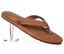 Herren Schuhe Zehensandalen, Leder-Textil, cognac braun