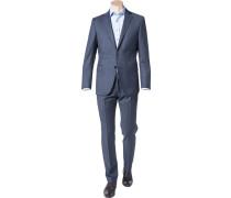 Herren Anzug, Shaped Fit, Schurwolle, dunkelblau meliert