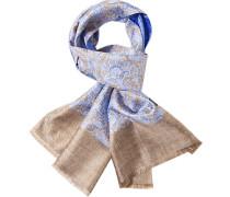 Herren ASCOT Schal Seide camel-hellblau gemustert blau,braun