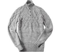 Herren Pullover Troyer Wolle grau-weiß meliert
