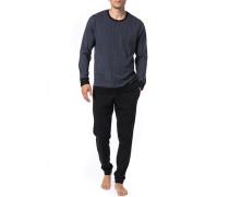 Herren Schlafanzug Pyjama, Baumwolle, grau gemustert