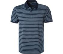 Herren Polo-Shirt, Baumwolle, blau gestreift
